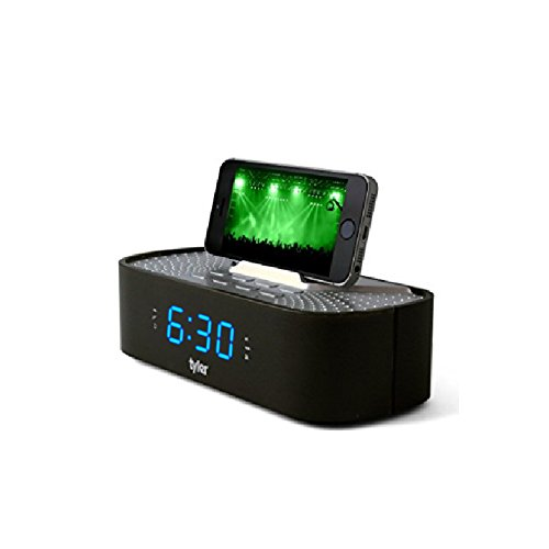 Tyler Bluetooth Alarm Clock Radio TAC501-BK with Stereo Speaker, FM Radio, USB Charging, AUX Line-in, Blue LED Display (0.6