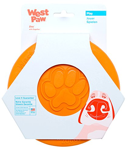 West Paw Zogoflex Zisc Durable Dog Frisbee Nearly Indestructible Flying Disc Dog Toy, 100% Guaranteed Tough, It Floats!, Made in USA, 6.5-Inch Small, Tangerine
