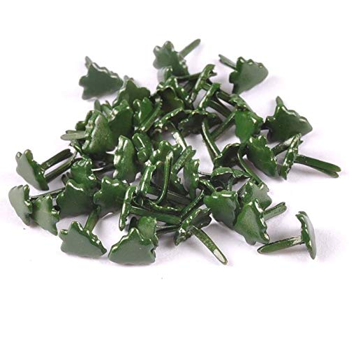 HATOLY Mini Christmas Tree Brads Scrapbooking Embellishment Fastener Brads Metal Crafts for Paper Decoration 7x8mm CP2165