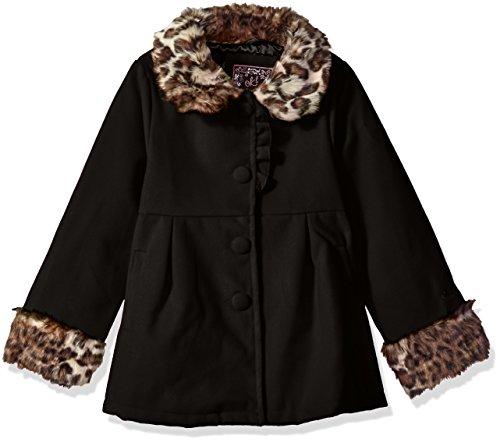 Ok Kids Little Girls Wool Coat with Faux Fur Leopard Trim, Black, 5/6 -