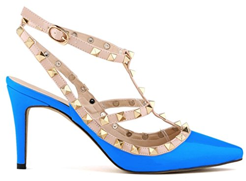 Fangsto Womens Fashion Leather High-Heeled Strappy Sandals Blue QvpiJPP8