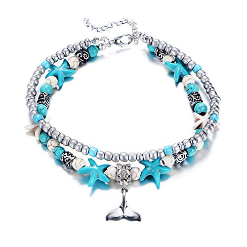 Fesciory Women Starfish Turtle Anklet Multilayer Adjustable Beach Alloy Ankle Foot Chain Bracelet Boho Beads Jewelry(Mermaid) -
