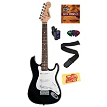 Squier by Fender Mini Strat Electric Guitar Bundle with Strap, Tuner, Picks, and Polishing Cloth - Black