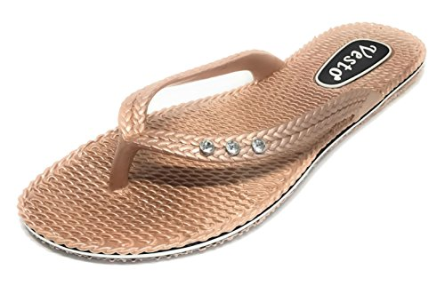 Vesto Ladies Metallic Comfort Flip Flop with Rhinestone 7-8 B(M) US Rose Gold