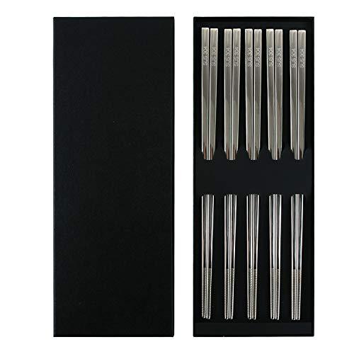 5 Pairs Reusable Chopsticks Stainless Steel Non-slip Japanese Dishwasher Safe 9.8 Inch Chopsticks Set with Gift Case ...