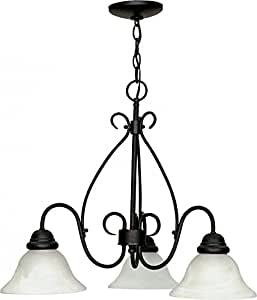 Nuvo 60/378 3 Light Chandelier with Alabaster Glass Shades