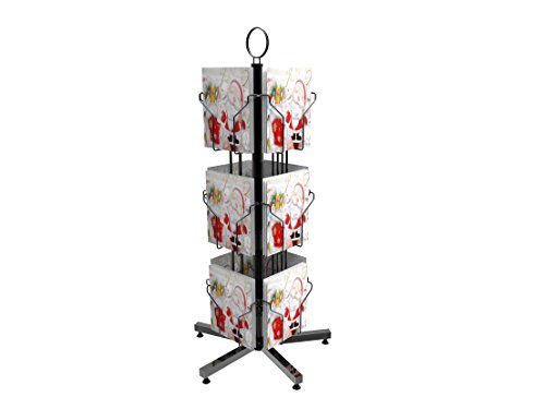 FixtureDisplays 12 Vertical Pockets Display, Greeting Post Card Christmas Holiday Spinning Rack Stand 11702 (Greeting Card Stands)
