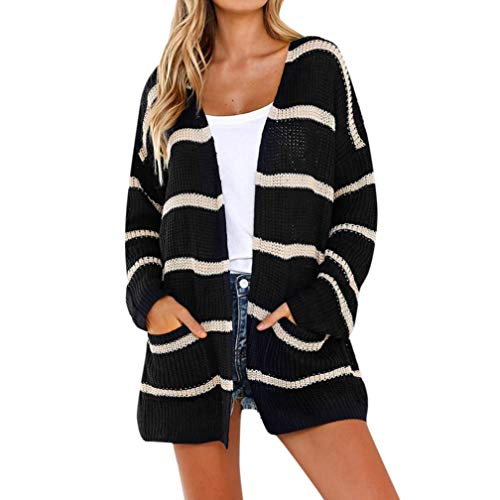 Belted Striped Sweater - LISTHA Striped Open Front Cardigans for Women Jumper Sweaters Pockets Long Sleeve Tops