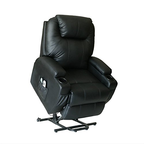 U-MAX Power Lift Chairs Recliner for Elderly PU Leather heated Vibration with Wheels 2 Controls - Delivery Fedex Times Normal