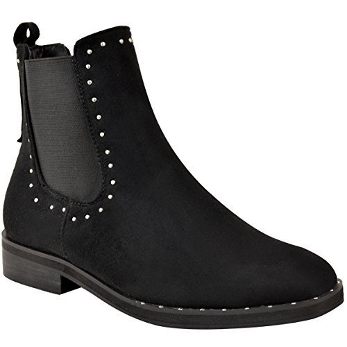 Fashion Thirsty Womens Ladies Flat Studded Chelsea Ankle Boots Casual Elastic Pull On Shoes Size Black Faux Suede / Silver Studs Ret82XDQT