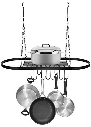 Sorbus Pot and Pan Rack for Ceiling with Hooks — Decorative Oval Mounted Storage Rack — Multi-Purpose Organizer for Home, Restaurant, Kitchen Cookware, Utensils, Books, Household (Hanging Black) by Sorbus (Image #1)