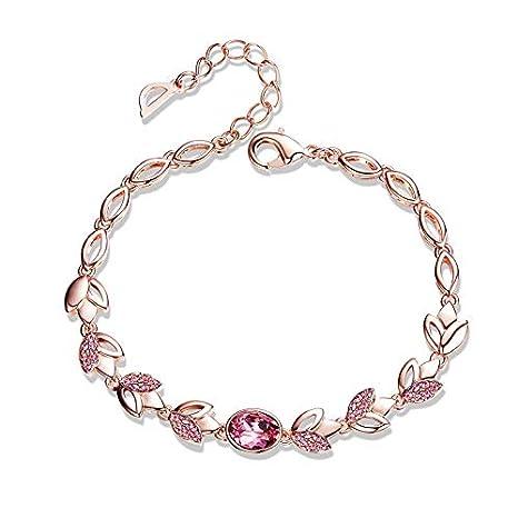 966730c2669f GMYANYSZ Pulseras de Oro Rosa Cristales de Brazalete para Mujer Bisutería  Conjunto Flor Roja Azul Dama  Amazon.es  Deportes y aire libre