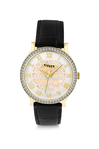 KISSES, Sweet Hart, Gold Plated Watch With Black Leather Strap Model - Steiner Jets