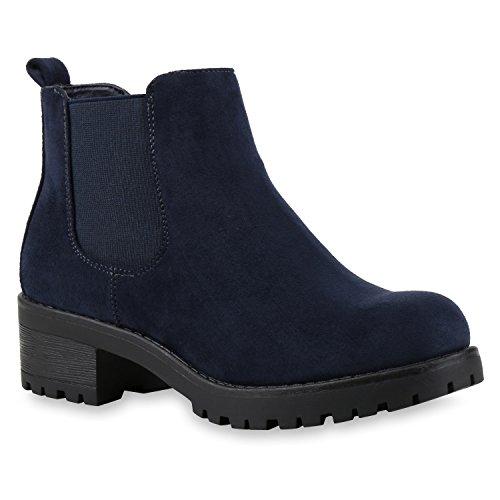 Stiefelparadies Damen Chelsea Boots Plateau Stiefeletten Profilsohle Schuhe Velours Metallic Booties Knöchelhohe Stiefel Blockabsatz Plateauschuhe Flandell Dunkelblau Velour