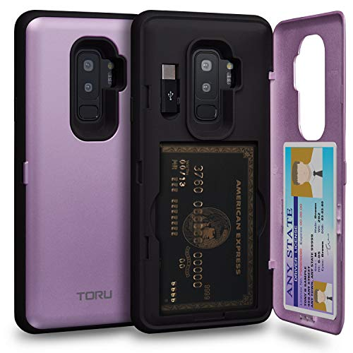 (TORU CX PRO Galaxy S9 Plus Wallet Case Purple with Hidden Credit Card Holder ID Slot Hard Cover, Mirror & USB Adapter for Samsung Galaxy S9 Plus -)