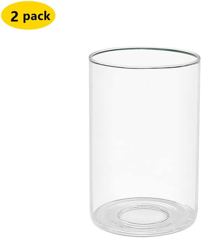 """Clear Glass Shade Clear Cylinder Glass Lamp Shade Diameter 3.5"""" Height 5.5"""" Fitter 1.65"""" (2 Packs) (H5.5"""")"""