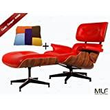 MLF Hand-assembled Eames Lounge Chair & Ottoman (5 Colors). High-elastic Soft Foam Cushions, Great Resilience & Never Lose Elasticity. 100% Premium Red Aniline Leather, Durable 7-ply Palisander Laminated Veneer. Cast Aluminum 5 Star Swiveling Base.