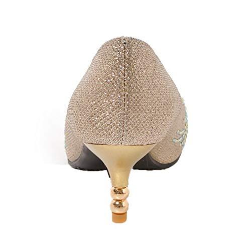 Correct Mélangee GMBDB011337 Talon Femme Chaussures à Légeres AgooLar Serte Doré Matière xq1ZwUxFX