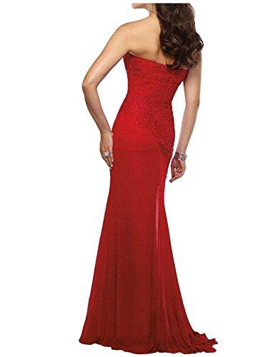 Abito Rosso della Vestito Scuro sera Chiffon festa per sposa da giacca la da madre Vestito JAEDEN sera Con Lungo da sirena Vestito Senza della spalline Pizzo UOWq74Sv
