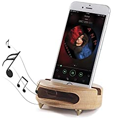 Mate2GO Cell Phone Stand, Desk Phone Stand, Handmade Wood Phone Stand Sound Amplifier as Gift,Table Dock Smartphone Tablet Stands Compatible iPhone, Samsung, LG,Kindle,Tablets - White Beech