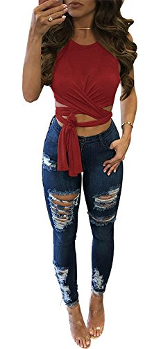 (WorkTd Womens Criss Cross Bandage Wrap Crop Top Crew Neck Tie Shirts Red XL)
