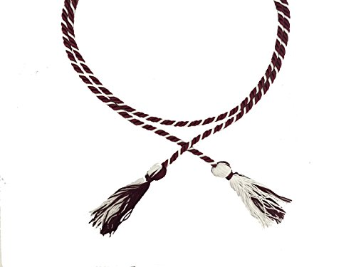 (Two-Color Braided Honor Graduation Cords (Maroon&White-Blocked)