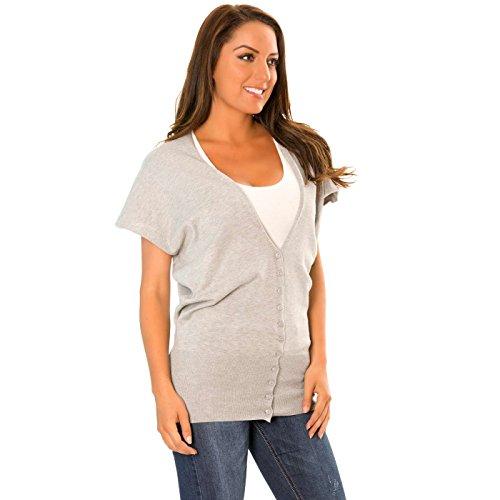 Miss Wear Line Gilet à boutons gris cintré en bas et dos ou vert
