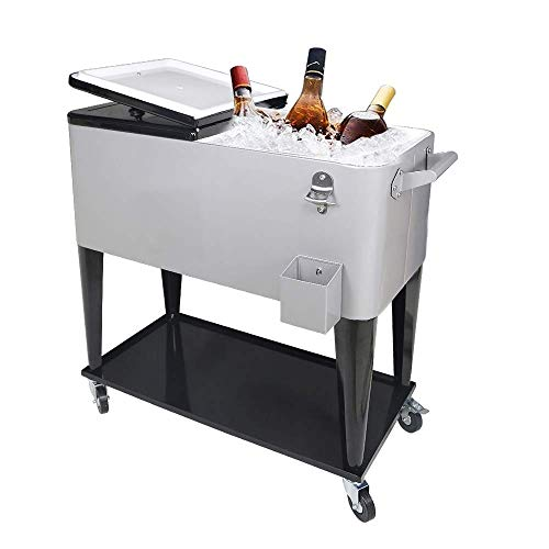 PetGirl Portable Rolling Cooler Ice Chest Cart Trolley for Outdoor Patio Deck Party Iron Beer Cooler Cart with 80Quart Qt Rolling Cooler on Wheels Backyard Party Drink Beverage Bar Bottle Opener