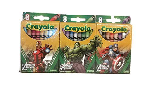 Crayola Marvel Avengers 3パックof 8クレヨン–Iron Man  Hulk  Captain Americaの商品画像