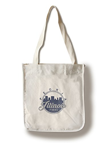 Peoria, Illinois - Skyline Seal (Blue) (100% Cotton Tote Bag - - Shopping Peoria