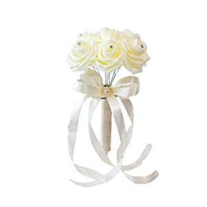 Dds5391 New Bride Bridesmaid Handmade Wedding Party Rhinestone Inlaid Artificial Flower - Orange 15