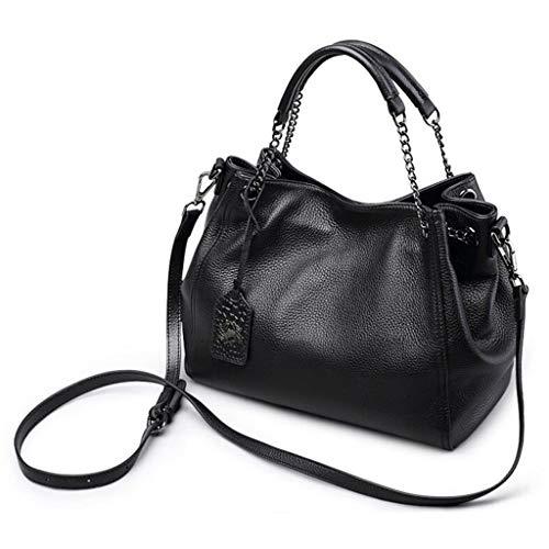 New Large Shoulder Black Leather Ladies Soft Bag Handbag Capacity Messenger 1F1pgwq