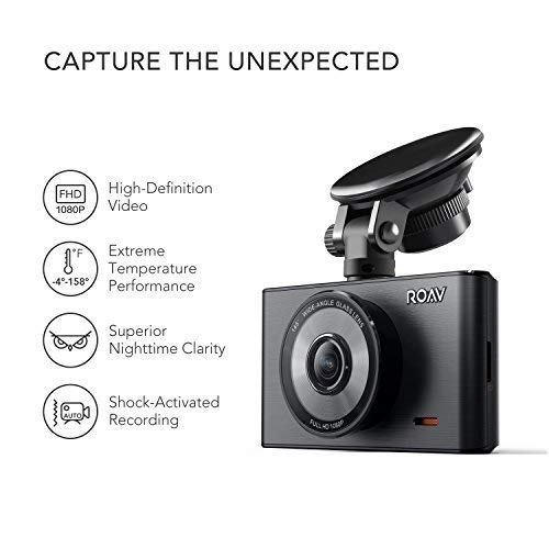 Roav DashCam C2, by Anker, FHD 1080P, 3'' LCD, 4-Lane Wide-Angle View Lens, G-Sensor, WDR, Loop Recording, Night Mode, 2-Port Charger, No Wi-Fi or App