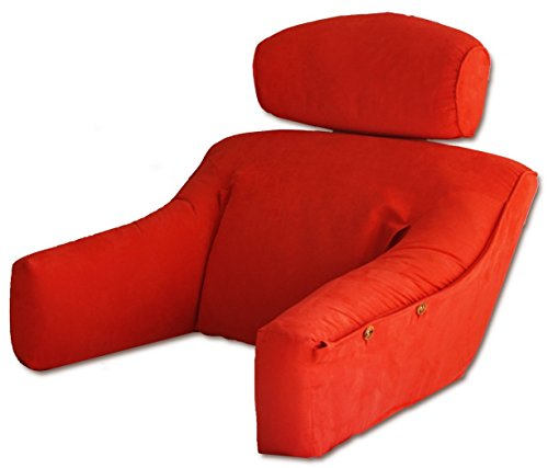 Vibrant Red Premium MicroSuede Bedlounge Reading Pillow - Reading in Bed, for Deep Couches, Watching TV and Reading to Children. REGULAR SIZE by BedLounge