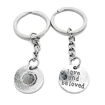 100 PCS Metal Antique Silver Plated Keychains Keyrings Keytag YK104 Love and Beloved Tag Signs Key Chain Ring