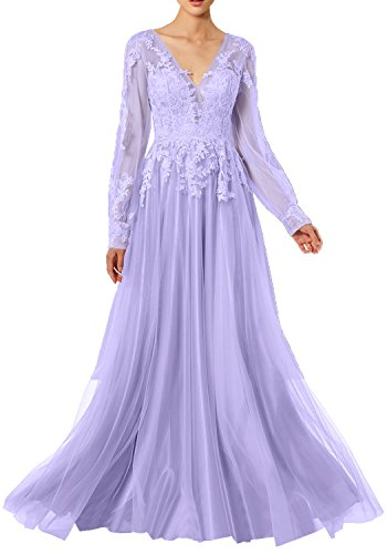 Rueckenfrei Lavendel Linie Abendkleider Applikationen Ivydressing Promkleider Tuell mit Damen Partykleider Spitze Langarm V Ausschnitt Ballkleider Lang A Modern qwBT7q6