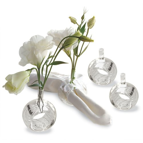 Two's Company Sitting Pretty Bud Vases/Napkin Rings in Gift Box, Hand Blown Glass, Set of 4