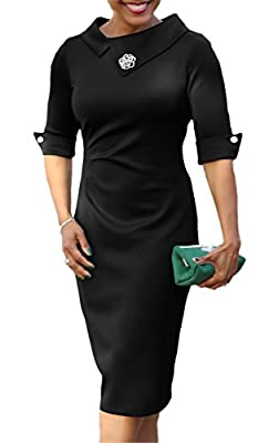 noabat Womens Solid Formal Business Pencil Dress Knee Length Bodycon Dress with Lapel