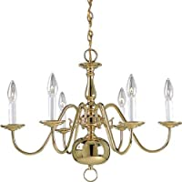 Progress Lighting P4356-10 6-Light Americana Chandelier with Delicate Arms and Decorative Center Column and Candelabra Lamps, Polished Brass by Progress Lighting