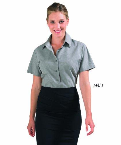 Sols - Elite - Damen Oxford Bluse Kurzarm , Silver , XXL