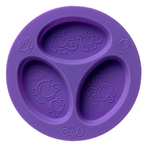 Silicone Baby & Toddler Divided Plate. Safe for Oven, Microwave, Dishwasher, Freezer and Boil Safe! Purple