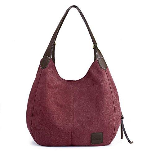 Everyday Canvas Bag - Women's Everyday Casual Shoulder Bags - Canvas Hobo Handbag Cotton Totes Purses Purple