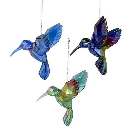 Kurt Adler Shiny Acrylic Hummingbird Ornaments, Set of 3, Assorted) (Background Christmas Artsy)