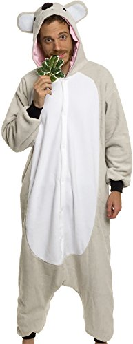 Silver Lilly Adult Pajamas - Plush One Piece Cosplay Koala Animal Costume (M) ()