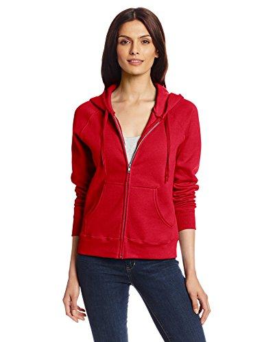 Hanes Women's Full Zip EcoSmart Fleece Hoodie, Red, (Cotton Blend Zip Sweatshirt)