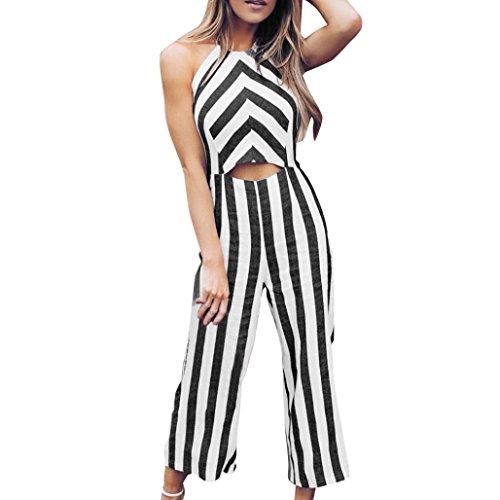 Back Zip Suit (Oksale® Women Sleeveless Striped Jumpsuit Casual Clubwear Wide Leg Pants Outfits (Black, XL))