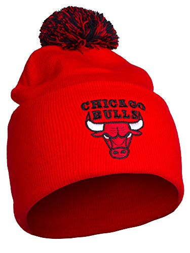 NBA Authentic Licensed Basketball Cuff Pom Pom Beanie Knit Hat Cap - Bulls Red by NBA