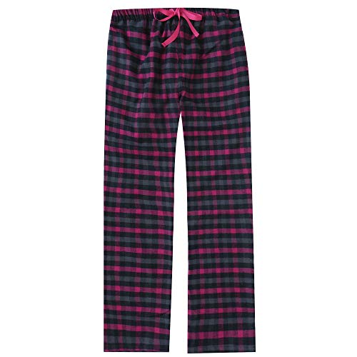 Noble Mount Women's Cotton Lightweight Flannel Lounge Pants - Plaid Black-Gray-Fuschia - S