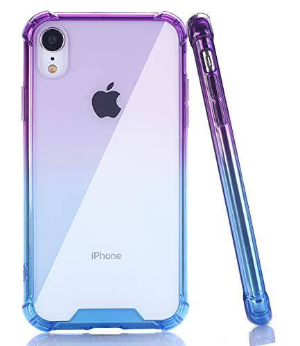 BAISRKE iPhone XR Case, Slim Shock Absorption Protective Cases Soft TPU Bumper & Hard Plastic Back Cover for iPhone XR 2018 [6.1 inch] - Purple Blue Gradient
