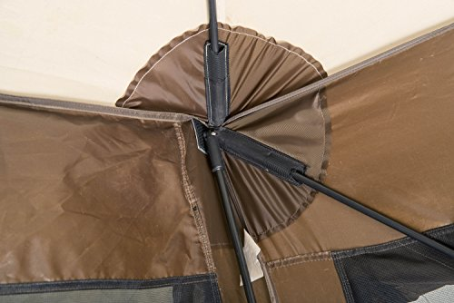 Quick-Set 9882 Pavilion, 150 x 150-Inch Portable Popup Gazebo Tent Durable Shelter Bug and Rain Protection Easy Setup (7-9 Person), Brown/Beige